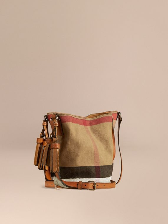 The Ashby piccola con pelle e motivo Canvas check Marrone Cuoio