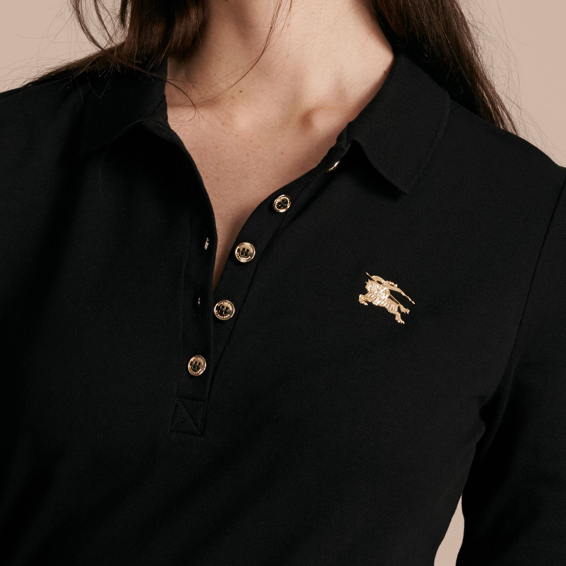 Black Long-sleeved Stretch Cotton Piqué Polo Shirt Black - gallery image 5