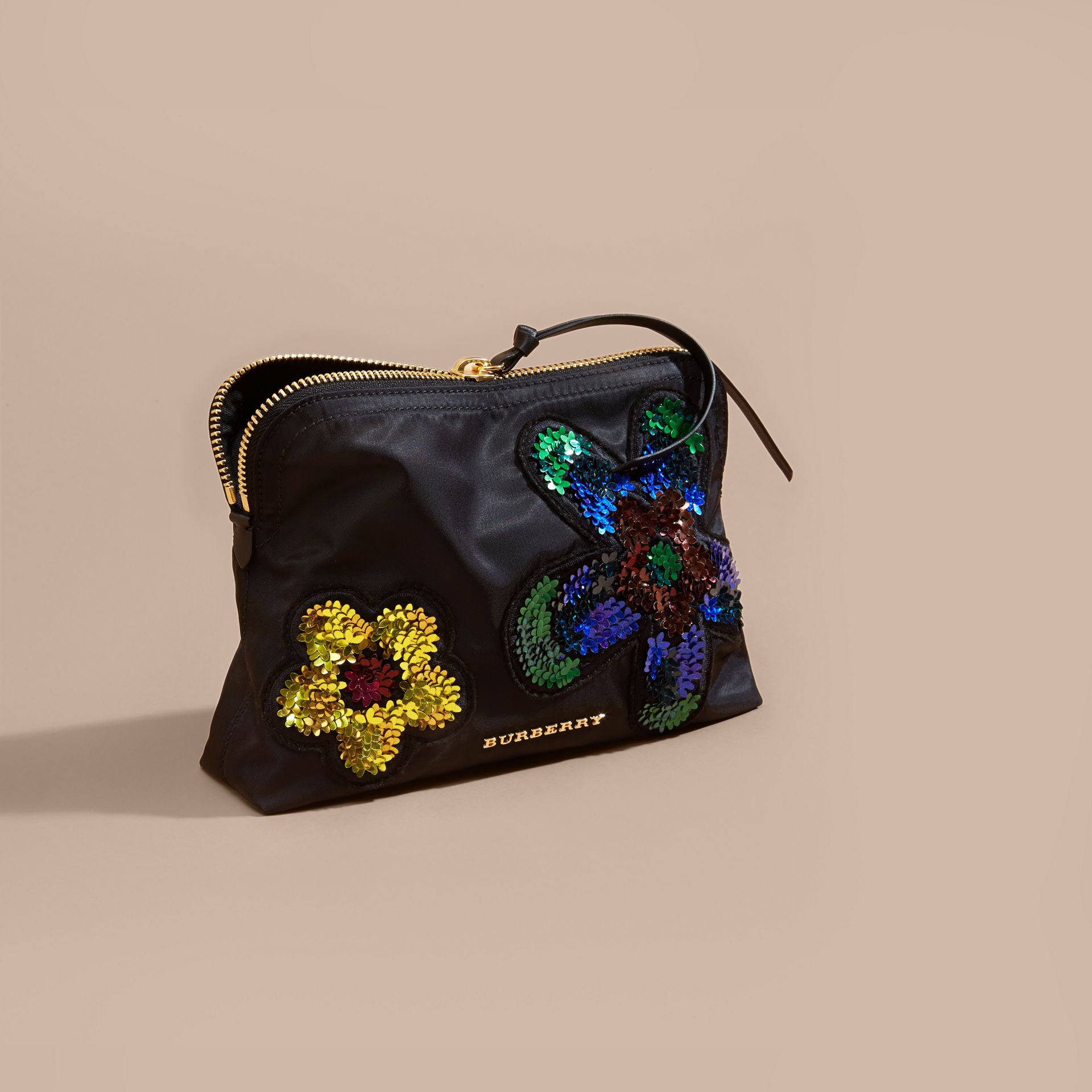 Black Large Zip-top Floral Embellished Pouch - gallery image 4