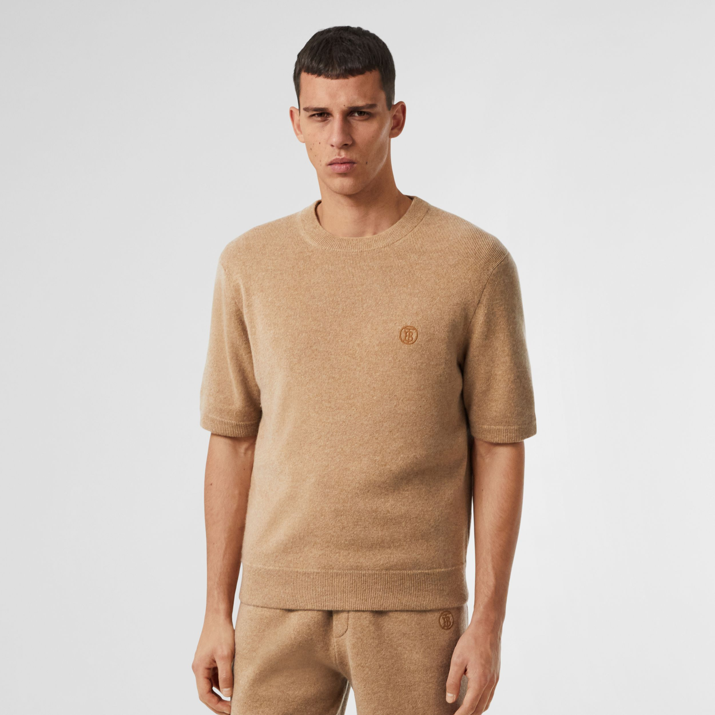 Short-sleeve Monogram Motif Cashmere Top in Pale Coffee - Men | Burberry - 1