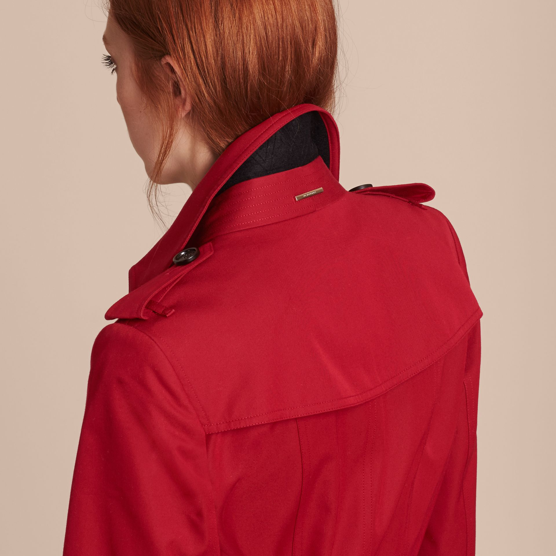 Leather Trim Cotton Gabardine Trench Coat Parade Red - gallery image 5