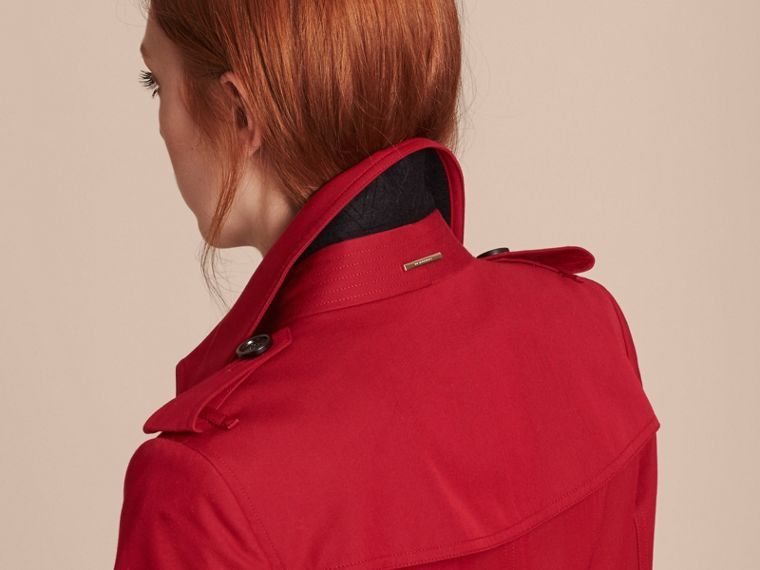 Leather Trim Cotton Gabardine Trench Coat in Parade Red - cell image 4