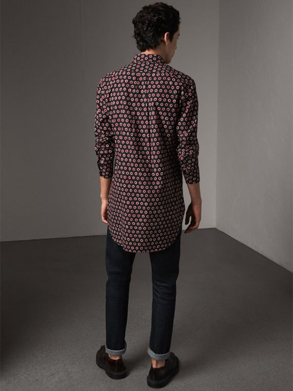 Spot Print Cotton Shirt in Parade Red - Men | Burberry - cell image 2