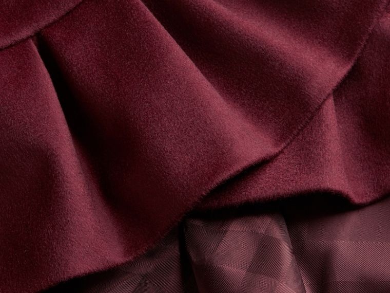 Ruffle Hem Cashmere Cape in Burgundy - cell image 1