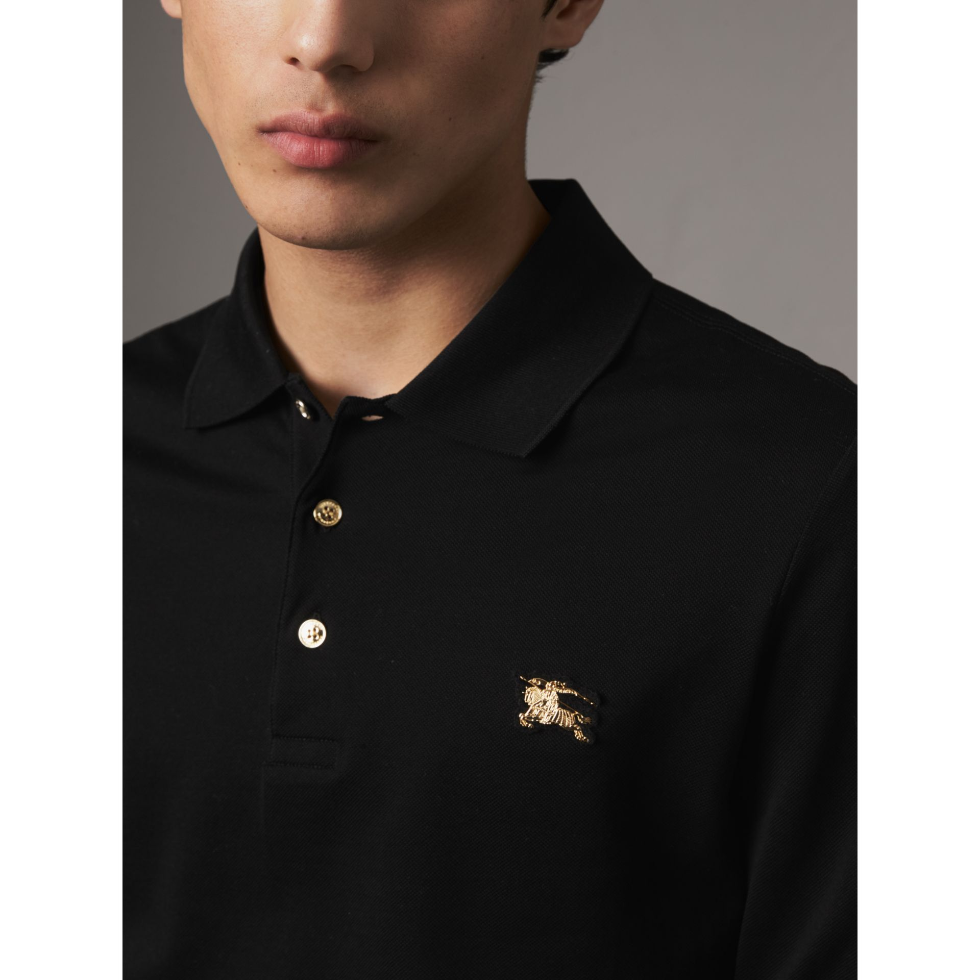 Long-sleeve Cotton Piqué Polo Shirt in Black - Men | Burberry - gallery image 1