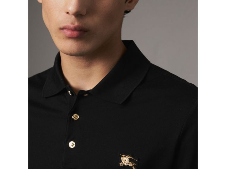 Long-sleeve Cotton Piqué Polo Shirt in Black - Men | Burberry - cell image 1