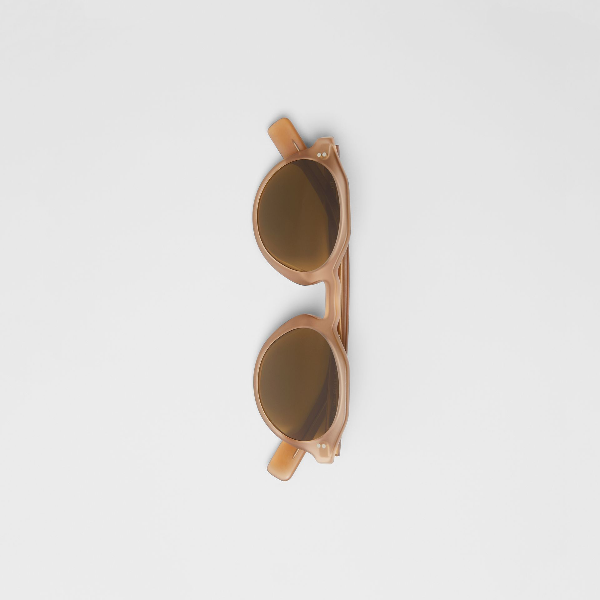 Keyhole Round Frame Sunglasses in Brown - Men | Burberry United States - gallery image 2