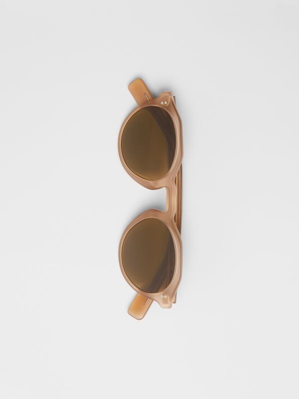 Keyhole Round Frame Sunglasses in Brown - Men | Burberry United States - cell image 2