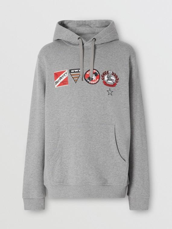 Logo Graphic Cotton Oversized Hoodie in Pale Grey Melange