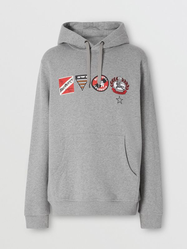 Logo Graphic Cotton Oversized Hoodie in Pale Grey Melange - Men   Burberry United Kingdom - cell image 3