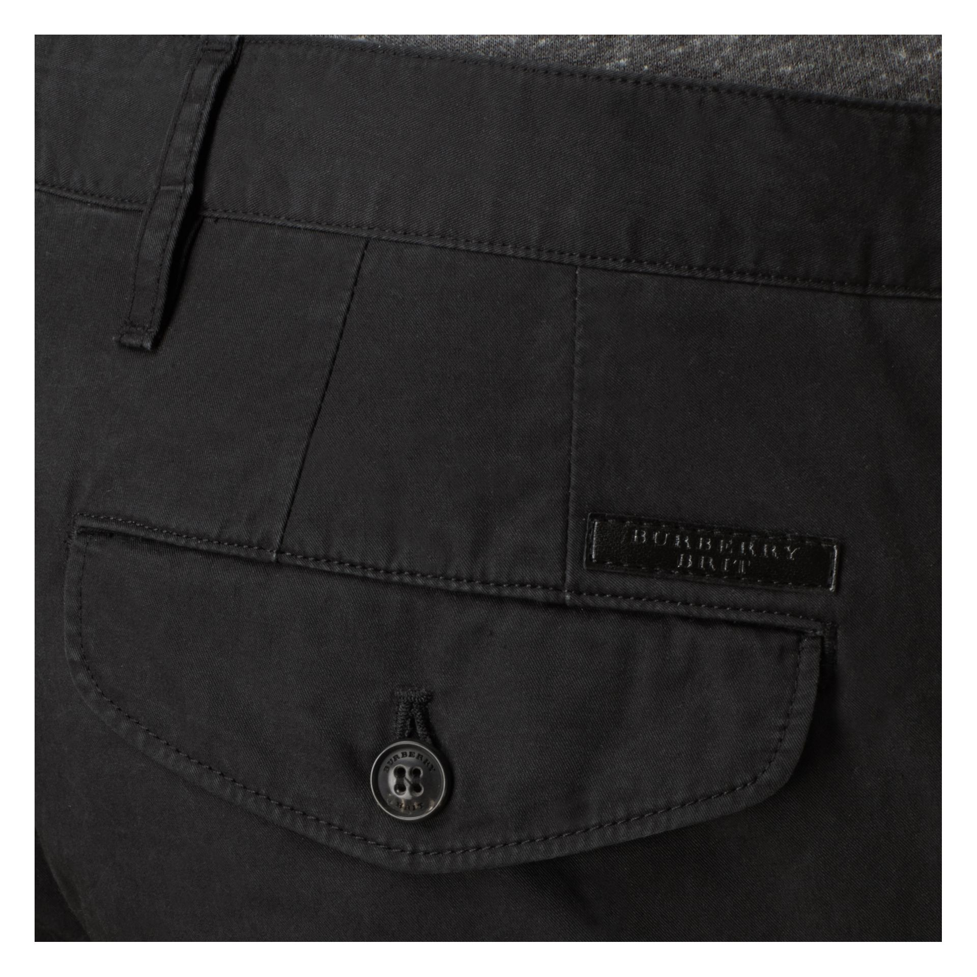 Black Slim Fit Cotton Chinos Black - gallery image 2