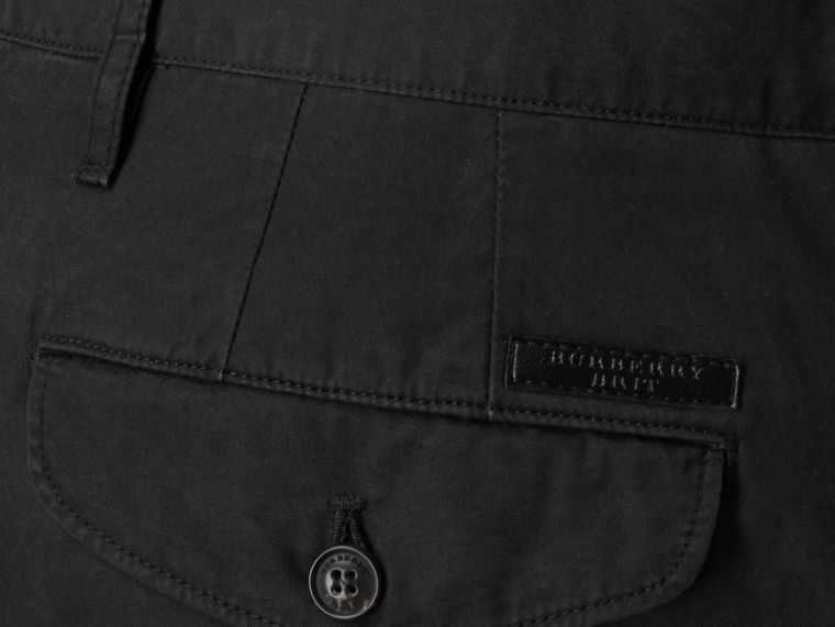 Slim Fit Cotton Chinos in Black - Men | Burberry - cell image 1