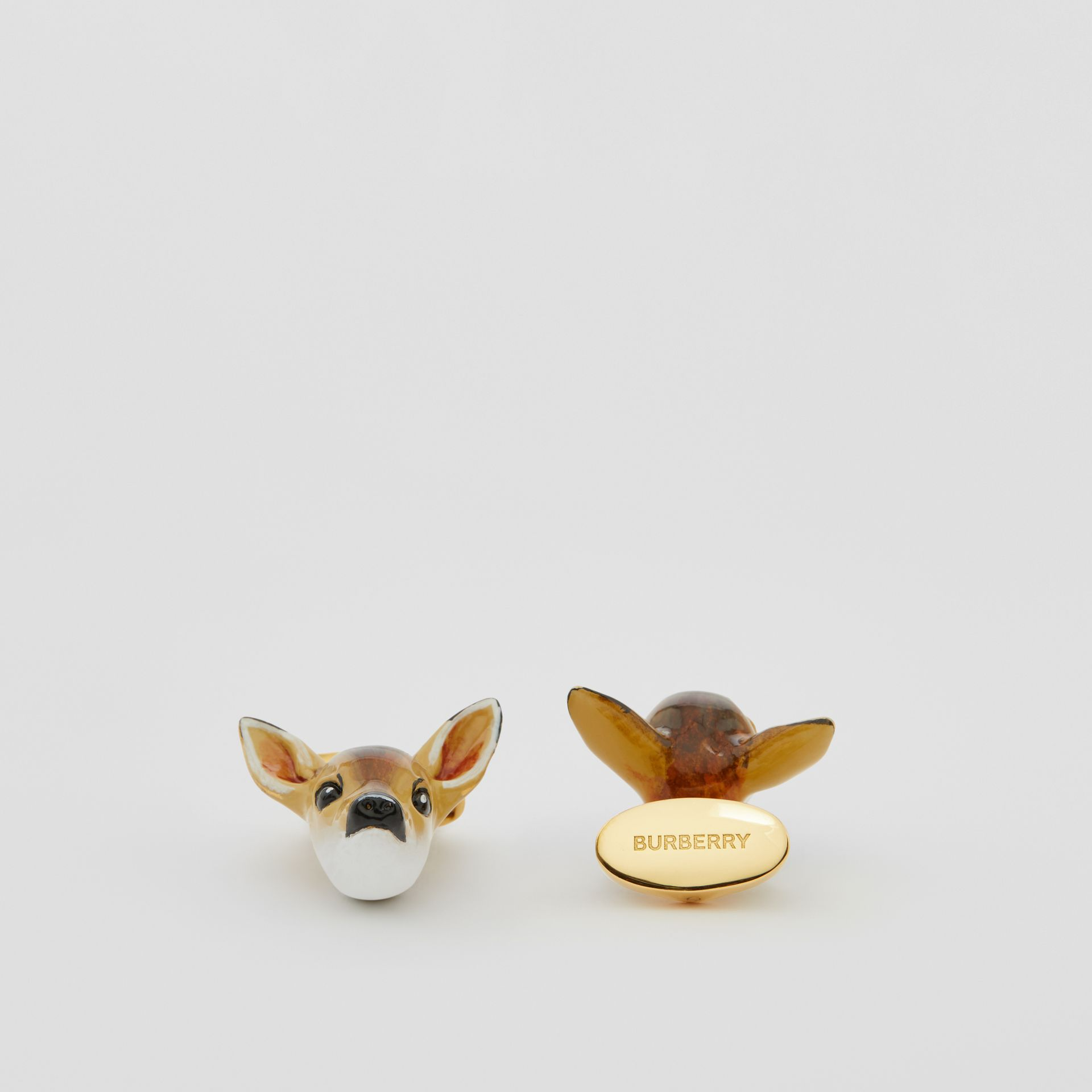 Deer Motif Gold-plated Cufflinks in Brown/white - Men | Burberry United Kingdom - gallery image 1