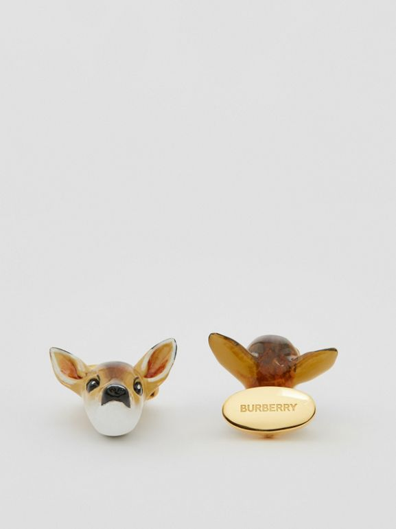 Deer Motif Gold-plated Cufflinks in Brown/white - Men | Burberry United Kingdom - cell image 1