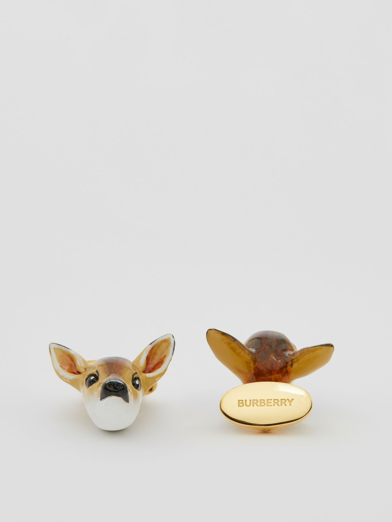 Deer Motif Gold-plated Cufflinks in Brown/white