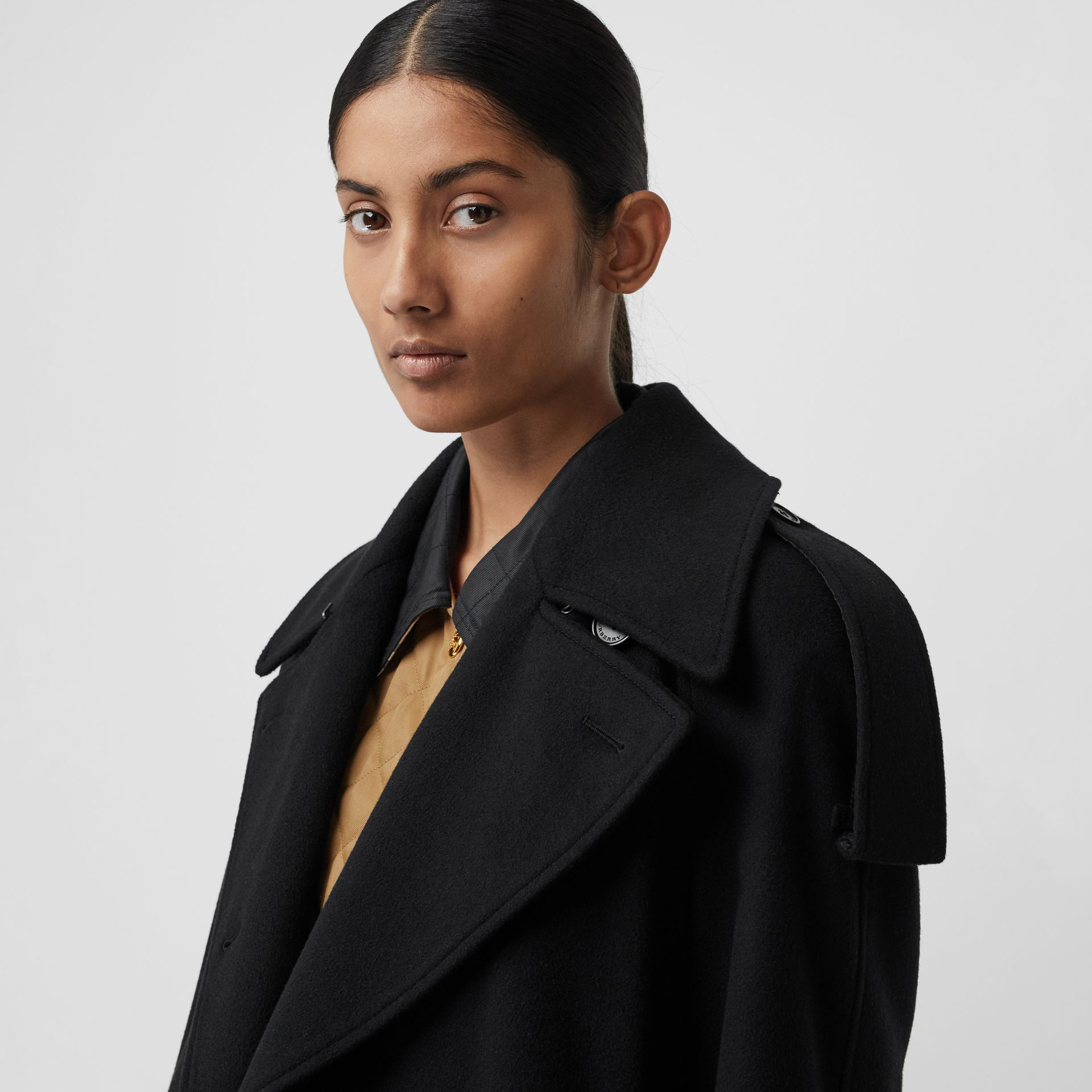 Wool Cashmere Double-breasted Coat in Black - Women | Burberry Canada - gallery image 1