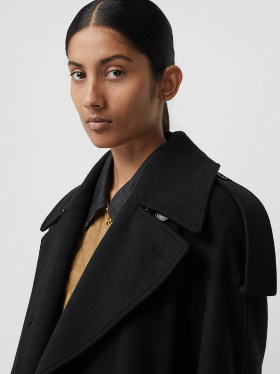 Wool Cashmere Double-breasted Coat in Black - Women | Burberry Canada - cell image 1