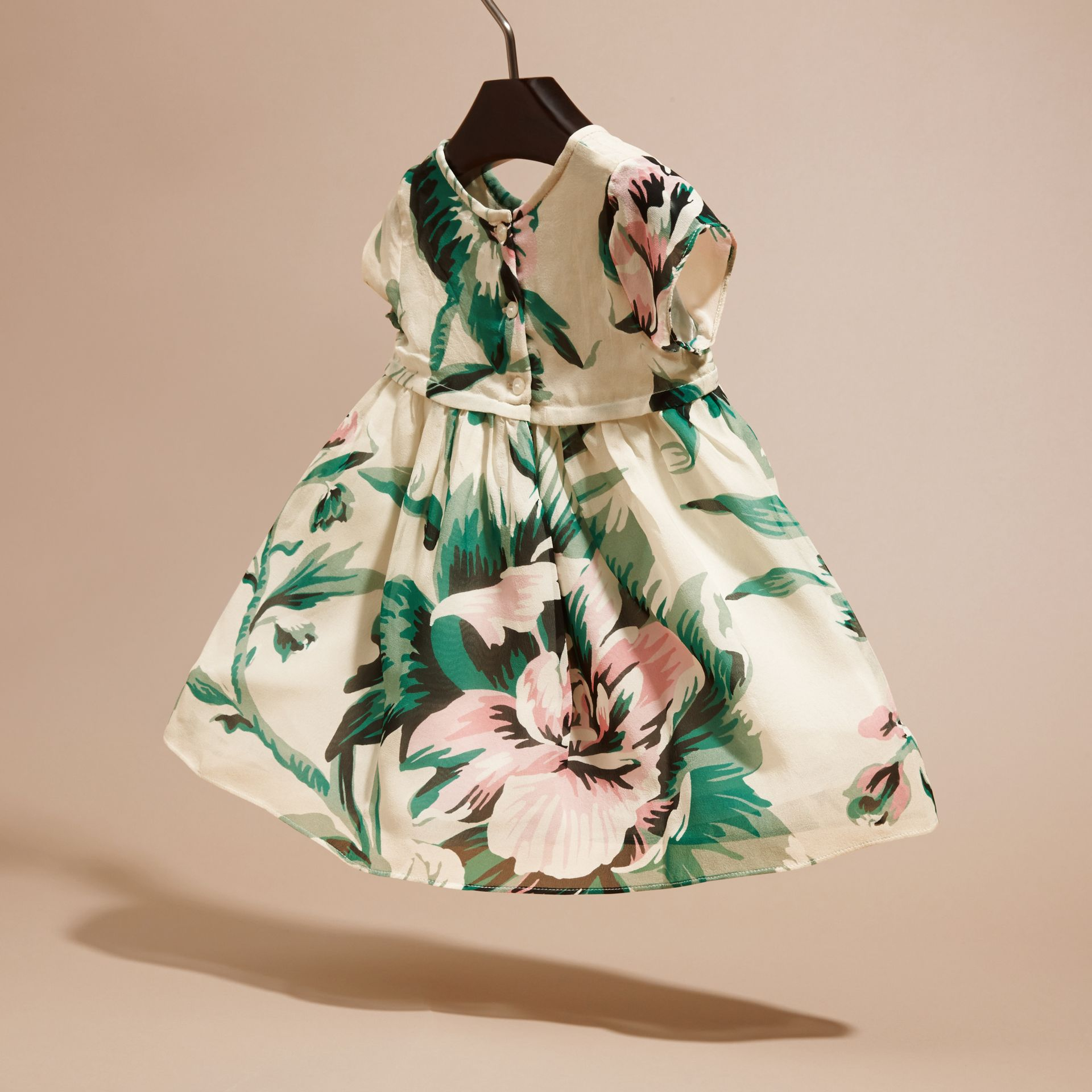 Emerald green Peony Rose Print Silk Dress - gallery image 4