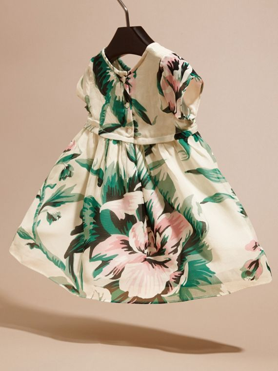 Emerald green Peony Rose Print Silk Dress - cell image 3