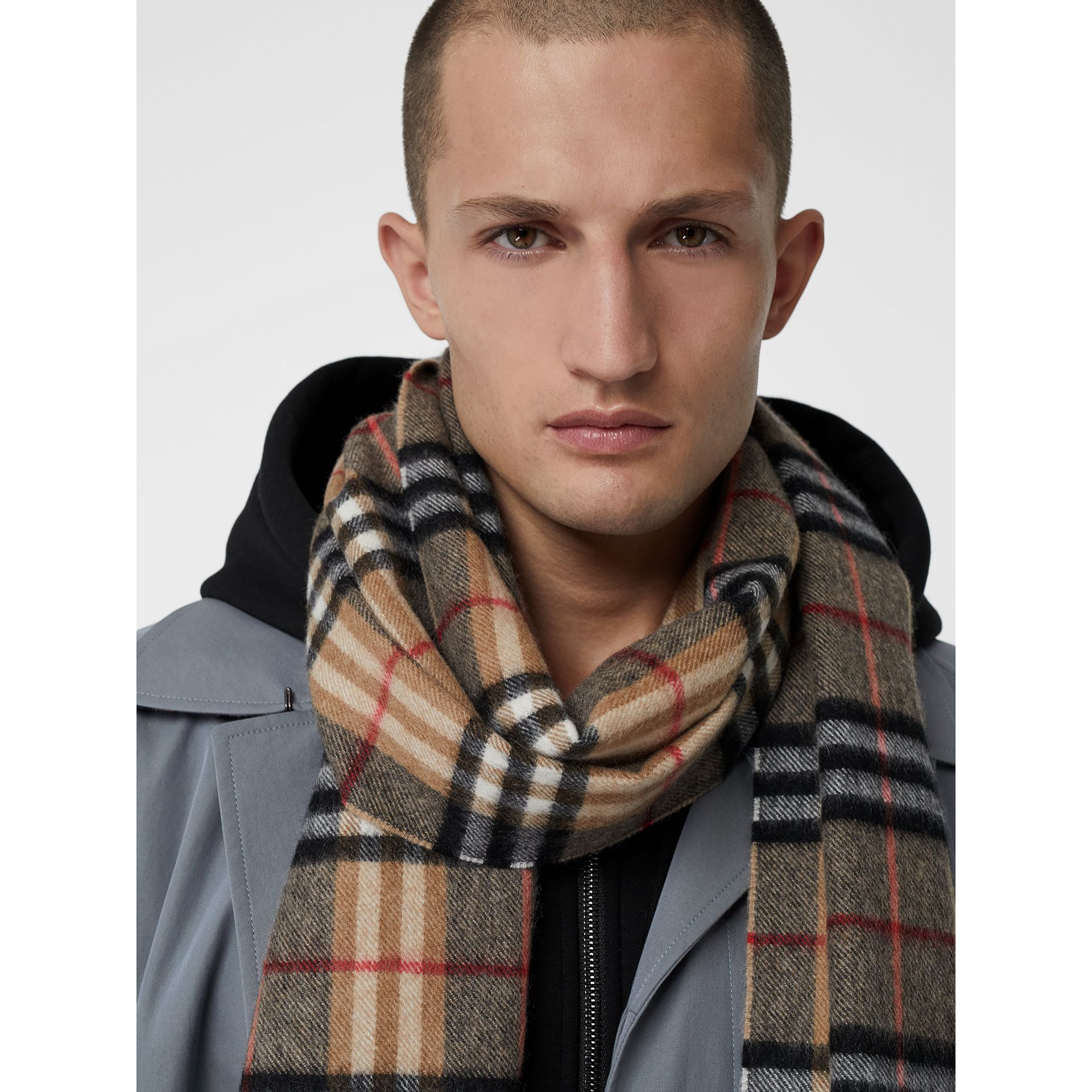 Check Cashmere Scarf in Camel | Burberry United Kingdom - gallery image 6
