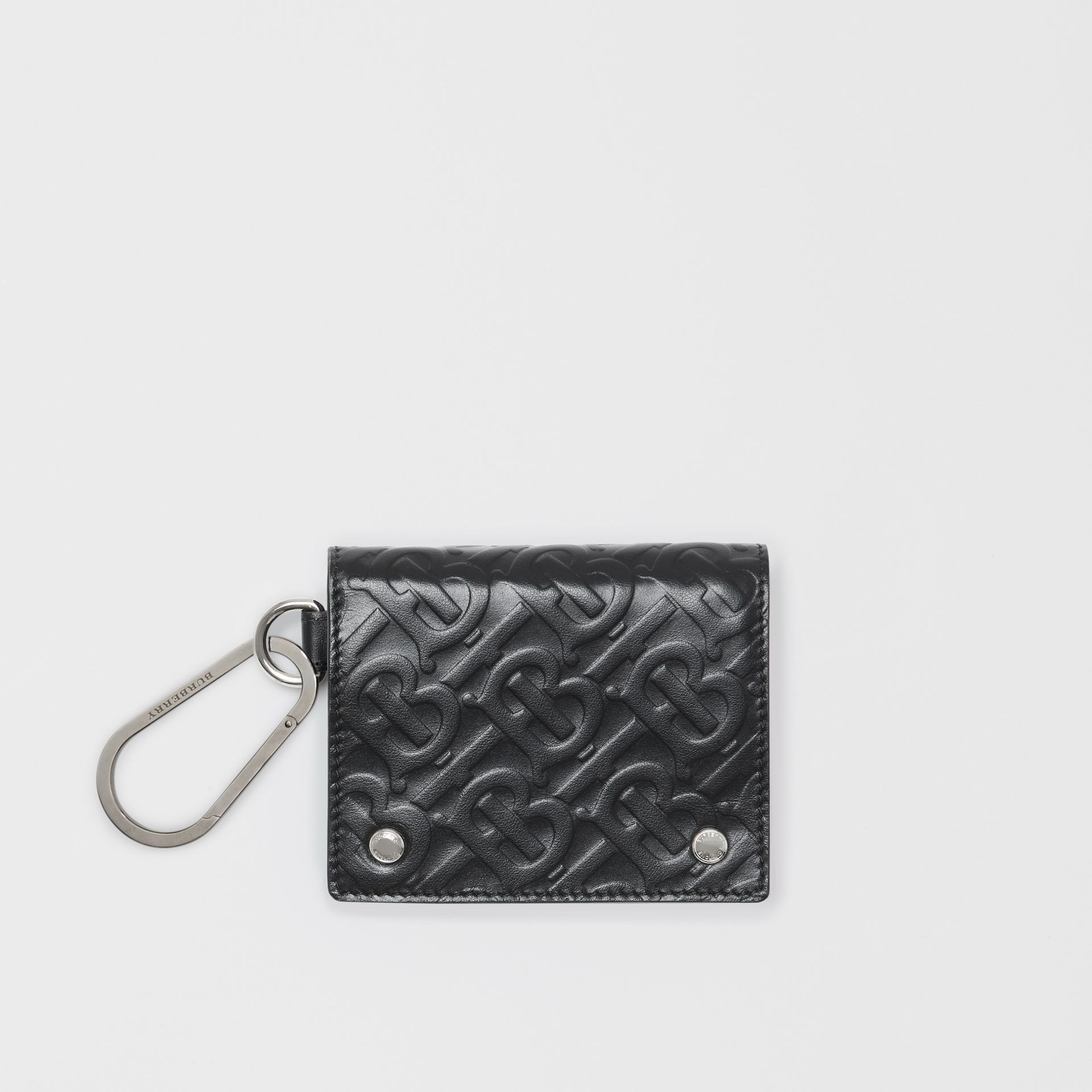 Monogram Embossed Leather Trifold Wallet in Black | Burberry - gallery image 0