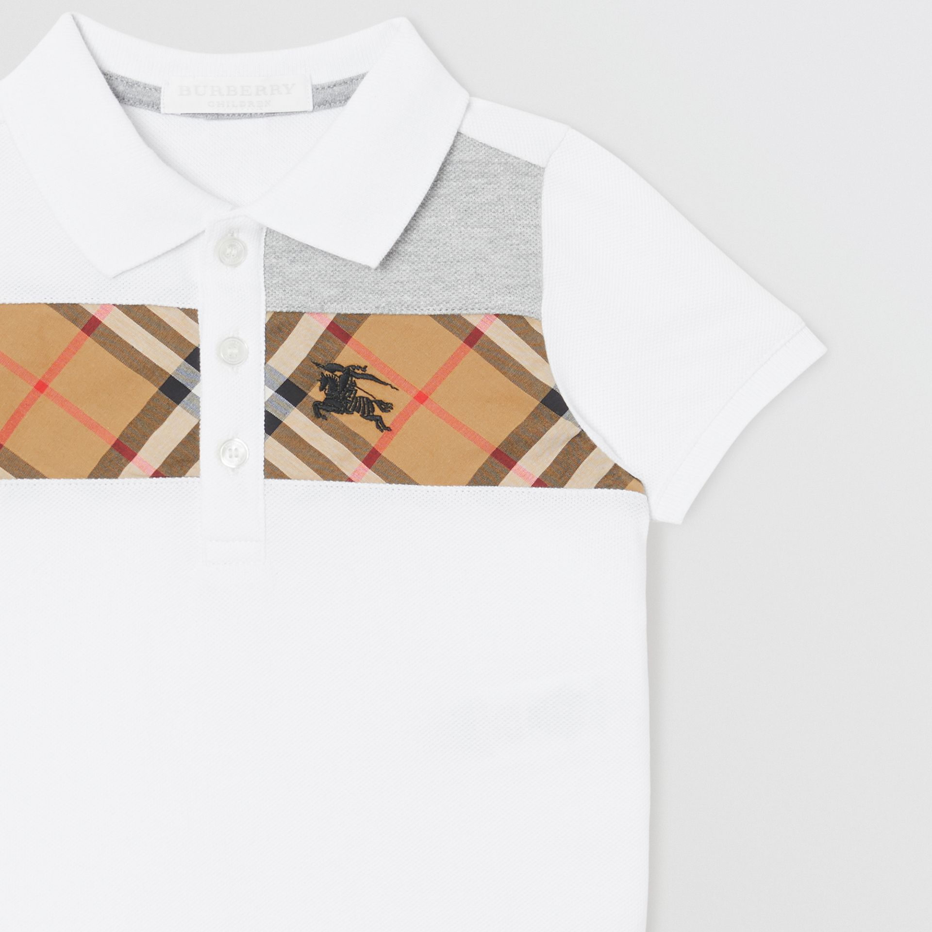 Vintage Check Panel Cotton Polo Shirt in White - Children | Burberry - gallery image 4