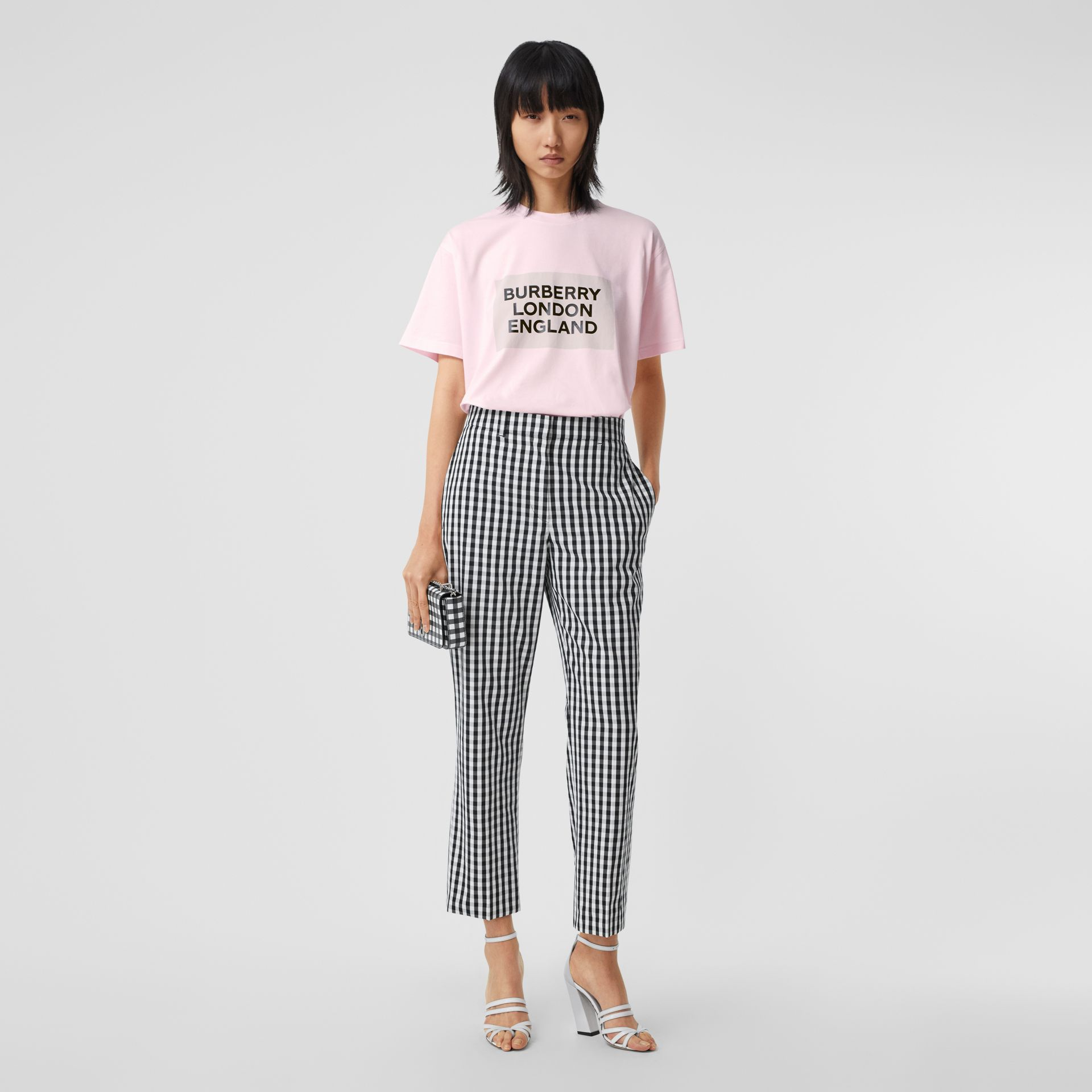 Logo Print Stretch Cotton Oversized T-shirt in Cloud Pink - Women | Burberry Canada - gallery image 5