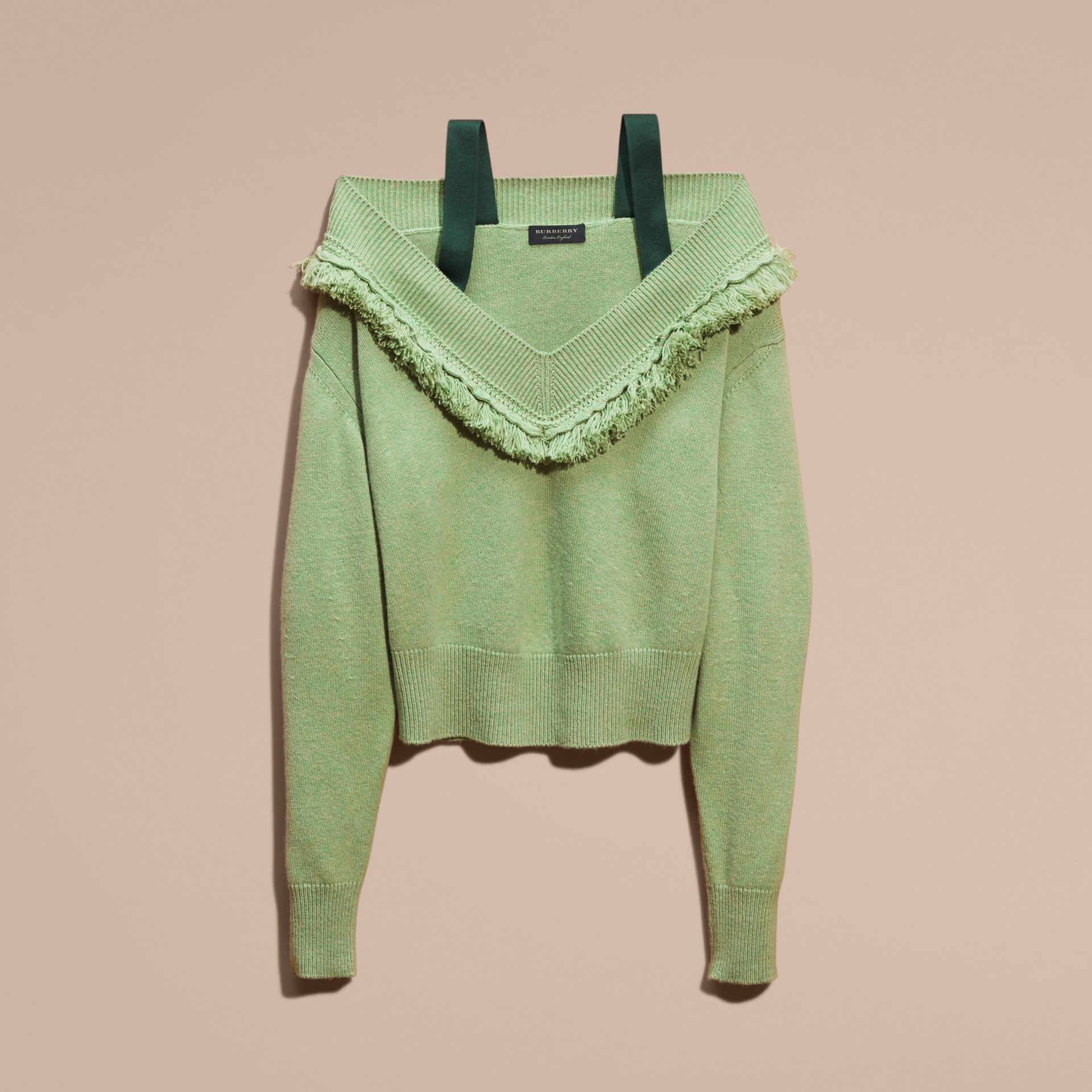 Fringed Off-the-shoulder Cashmere Sweater in Apple Green - gallery image 4