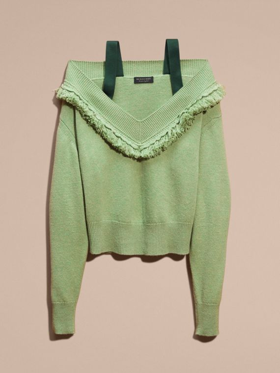 Apple green Cashmere Off-the-shoulder Sweater with Fringing Apple Green - cell image 3