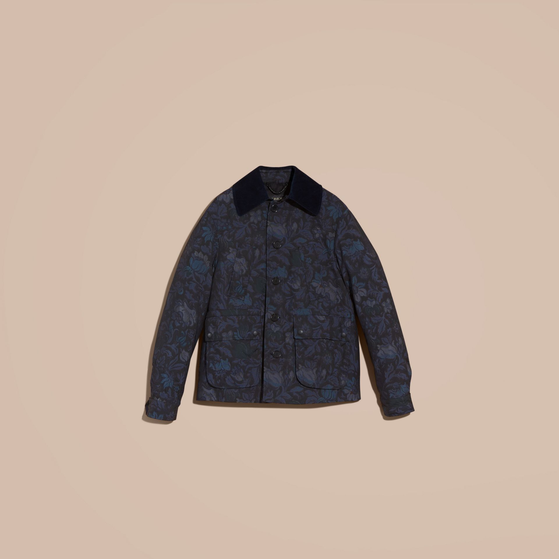 Navy Floral Jacquard Field Jacket with Corduroy Collar - gallery image 4