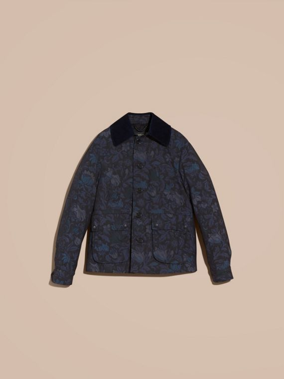 Navy Floral Jacquard Field Jacket with Corduroy Collar - cell image 3
