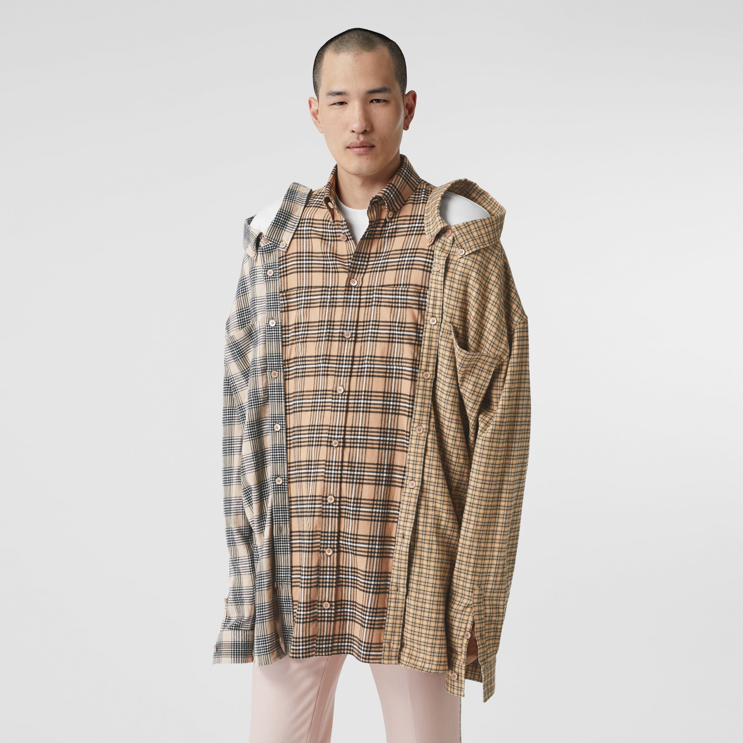 Contrast Check Cotton Flannel Reconstructed Shirt in Camel | Burberry - 1