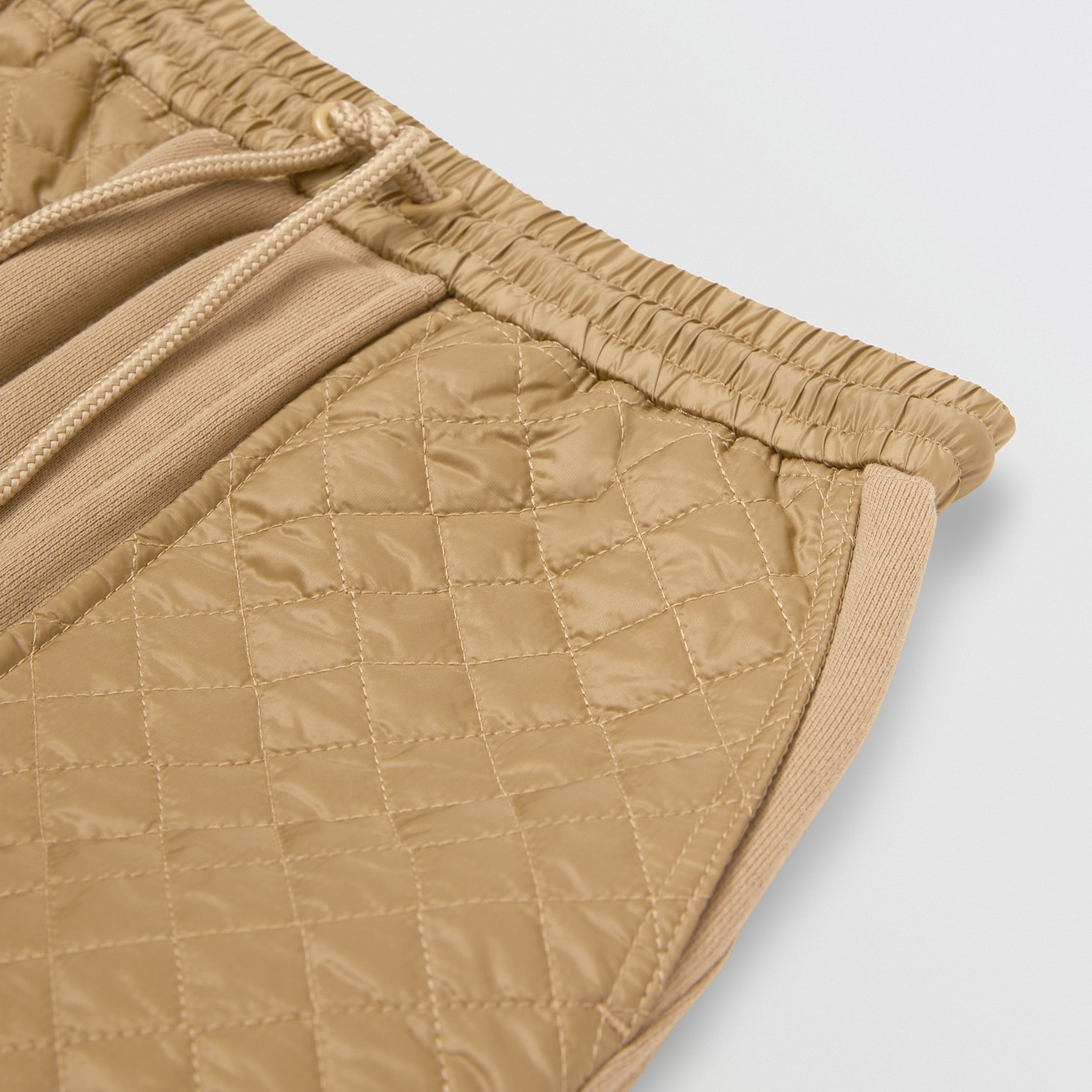 Monogram Quilted Panel Cotton Jogging Pants in Honey | Burberry - 2