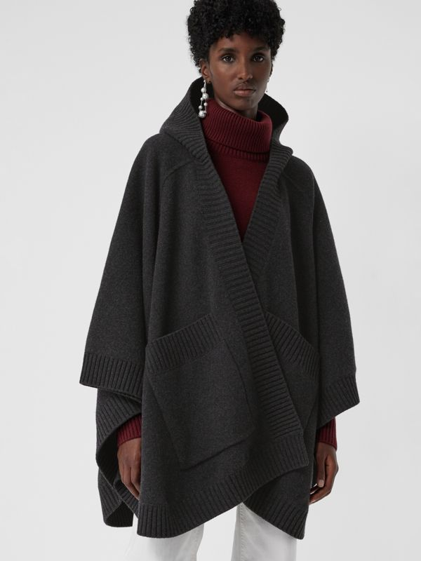 Crest Wool Blend Jacquard Hooded Cape in Charcoal - Women | Burberry Australia - cell image 2