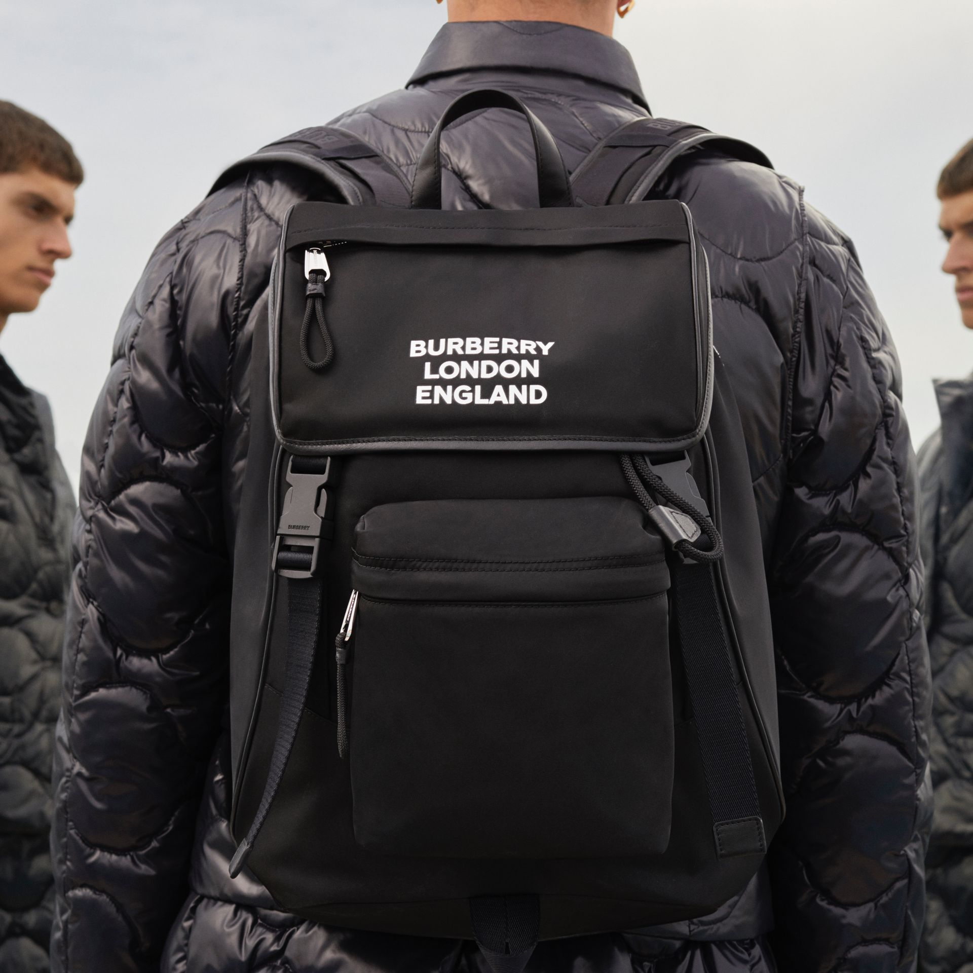 Logo Print ECONYL® Backpack in Black | Burberry - gallery image 11