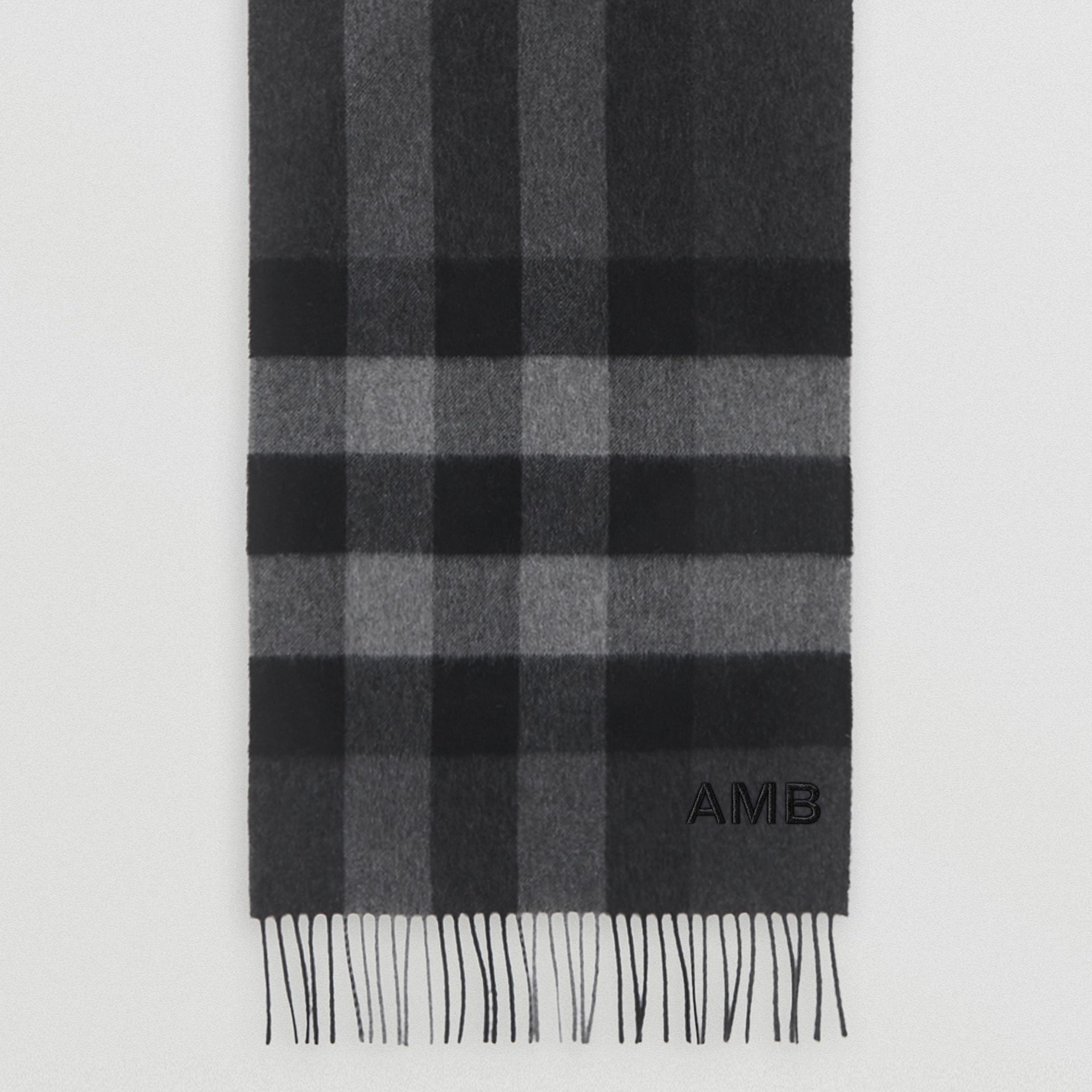 Check Cashmere Scarf in Charcoal | Burberry Canada - gallery image 6