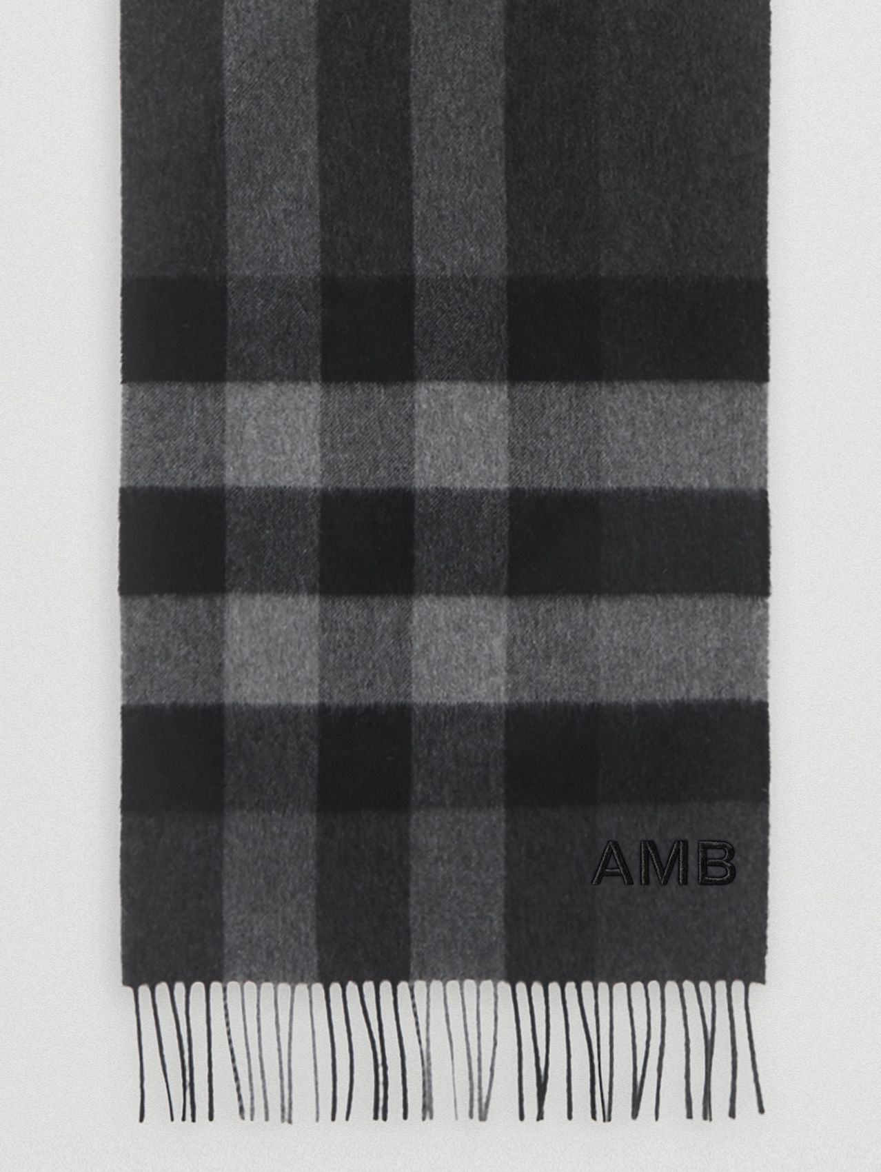 Check Cashmere Scarf in Charcoal