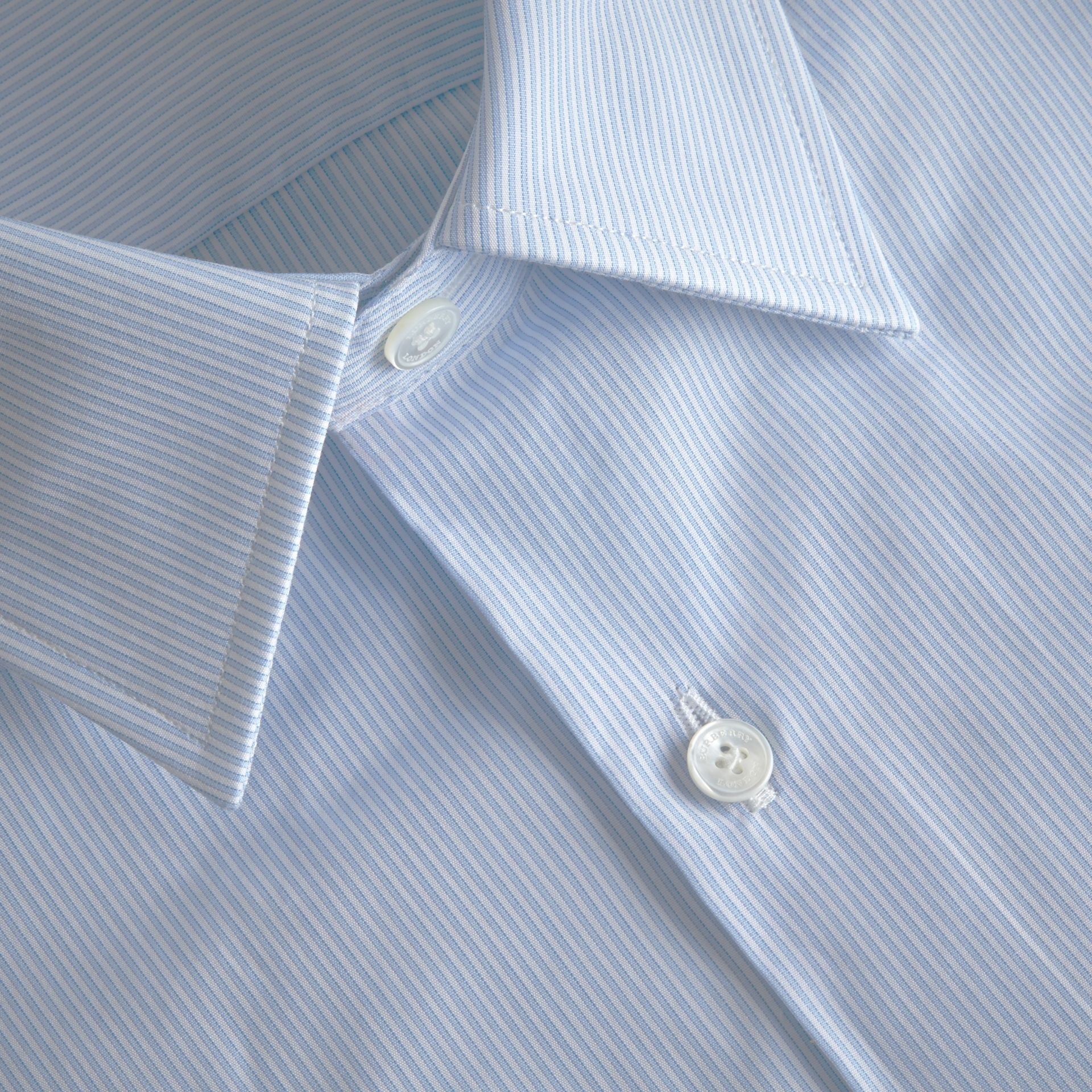 Modern Fit Striped Cotton Poplin Shirt in City Blue - Men | Burberry - gallery image 3