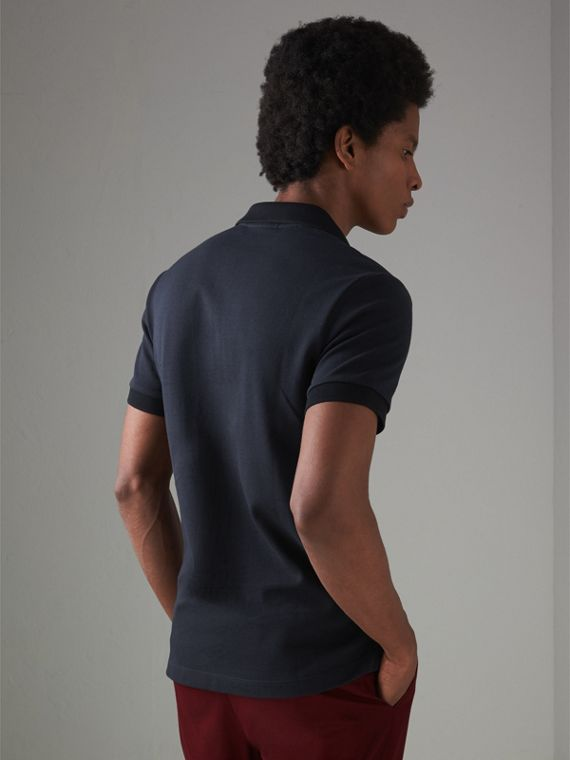 Contrast Collar Cotton Polo Shirt in Navy - Men | Burberry Singapore - cell image 2