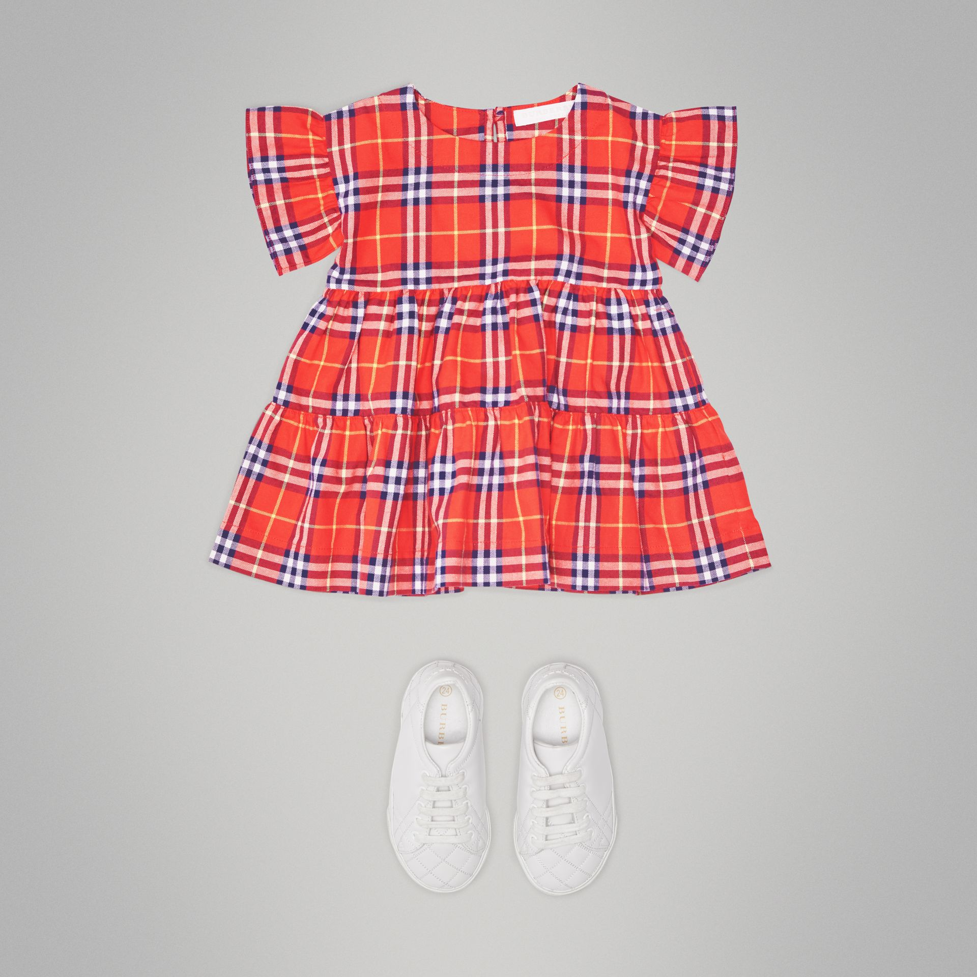 Ruffle Detail Cotton Check Dress in Orange Red - Children | Burberry Australia - gallery image 2