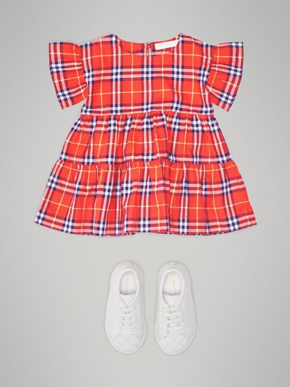 Ruffle Detail Cotton Check Dress in Orange Red