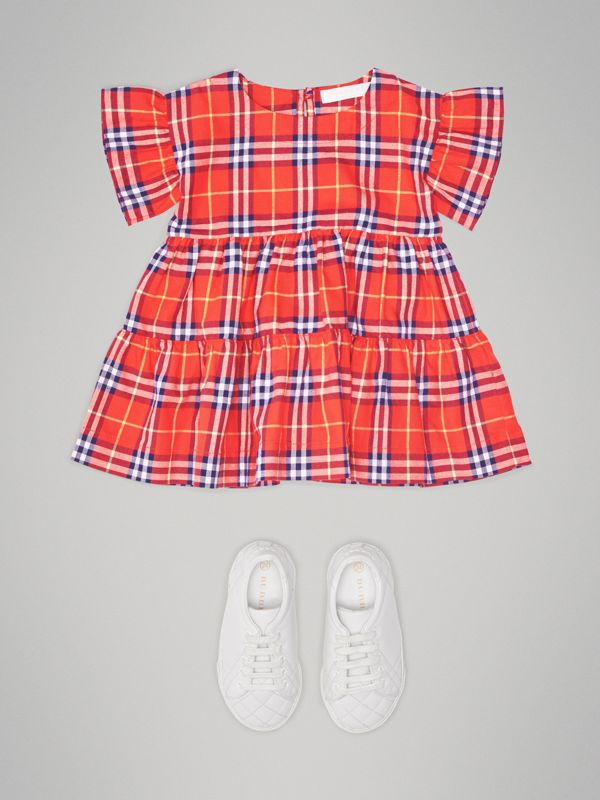 Ruffle Detail Cotton Check Dress in Orange Red - Children | Burberry - cell image 2