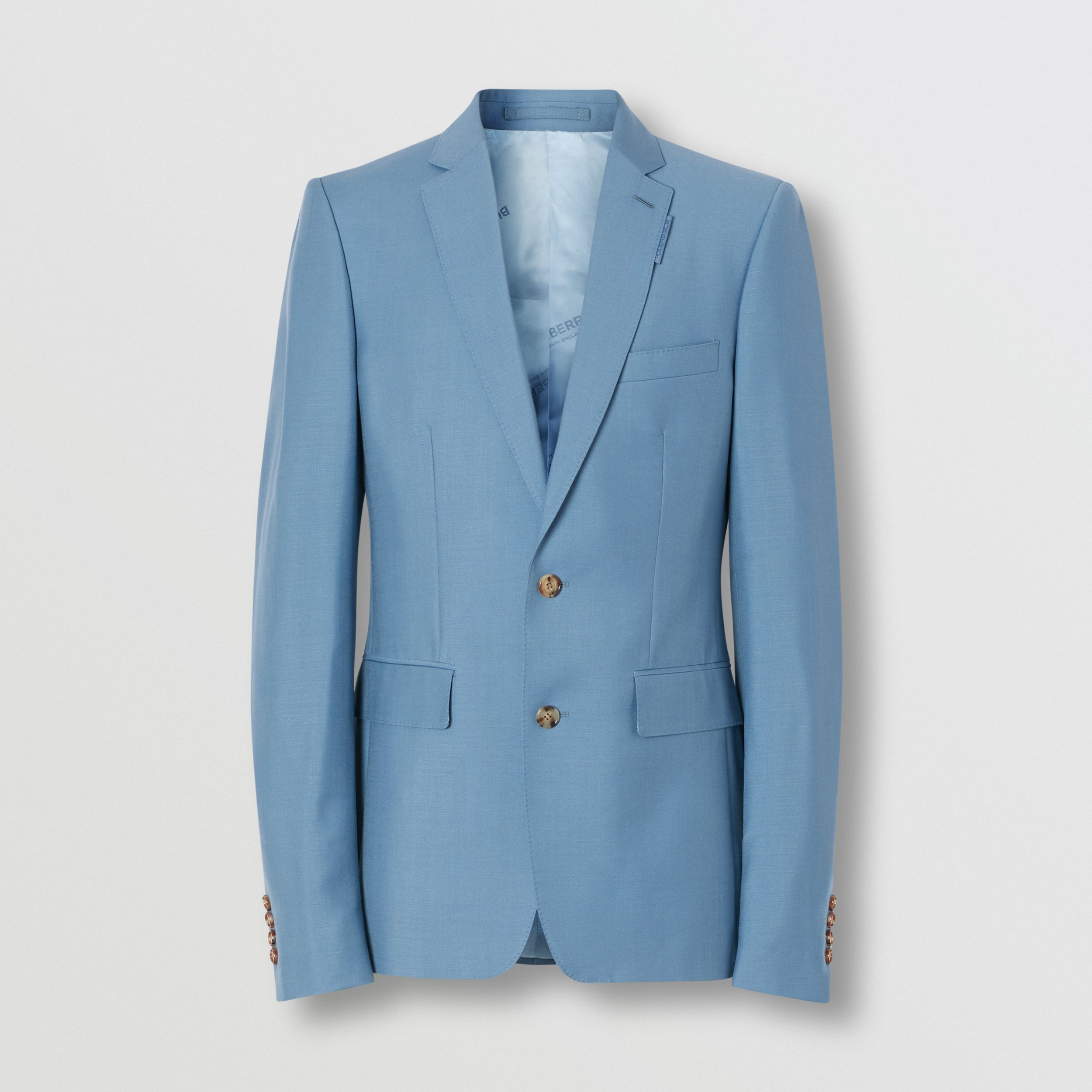 English Fit Wool Mohair Tailored Jacket in Steel Blue - Men | Burberry - 4