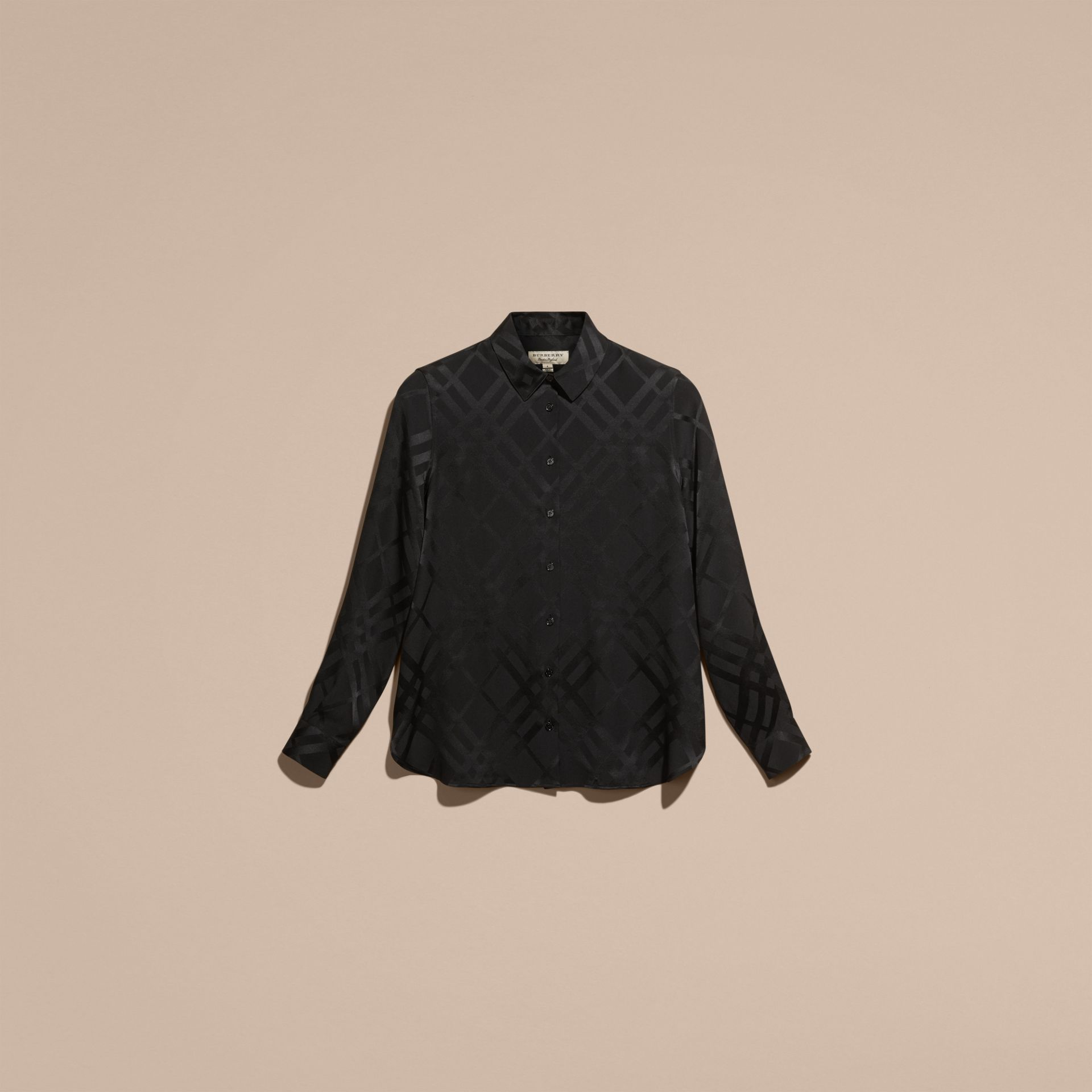 Black Tonal Check Silk Shirt Black - gallery image 4