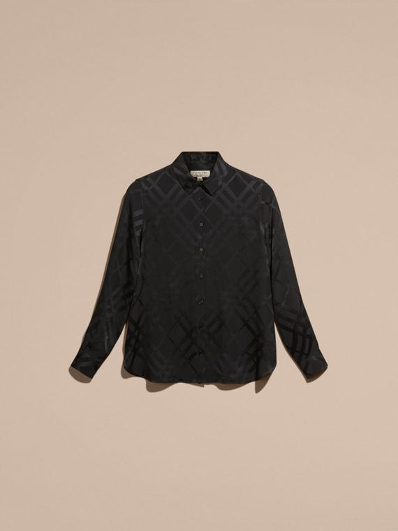 Tonal Check Silk Shirt Black - cell image 3