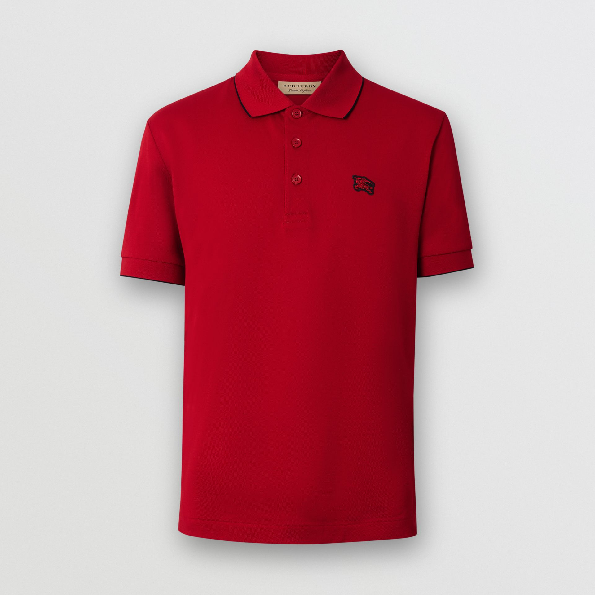 Tipped Cotton Piqué Polo Shirt in Military Red - Men | Burberry - gallery image 3