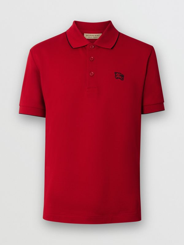 Tipped Cotton Piqué Polo Shirt in Military Red - Men | Burberry Canada - cell image 3