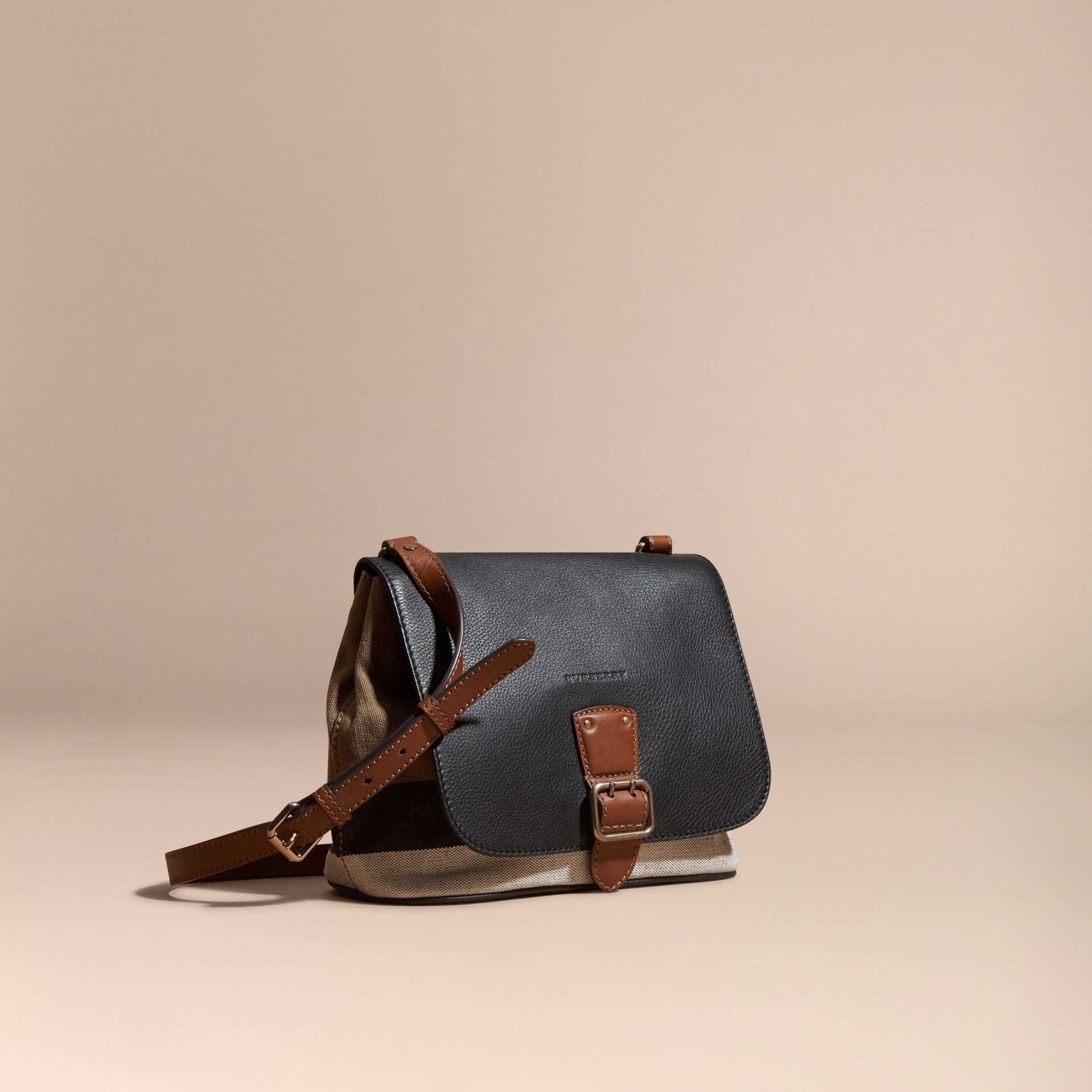 Black Canvas Check and Leather Crossbody Bag Black - gallery image 1