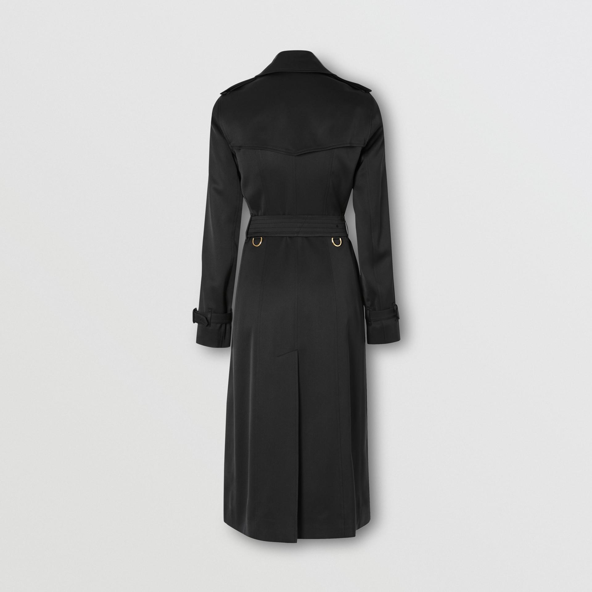 Silk Satin Trench Coat in Black - Women   Burberry United Kingdom - gallery image 7