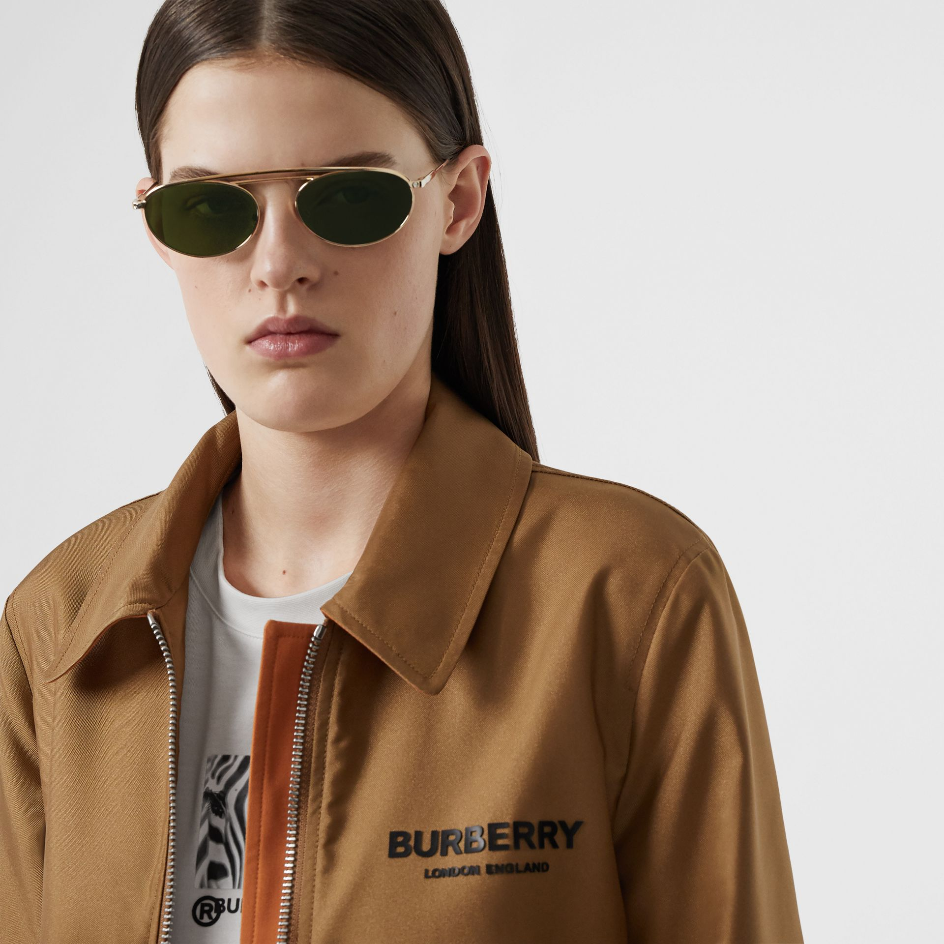 Oval Frame Sunglasses in Green - Women | Burberry United Kingdom - gallery image 2